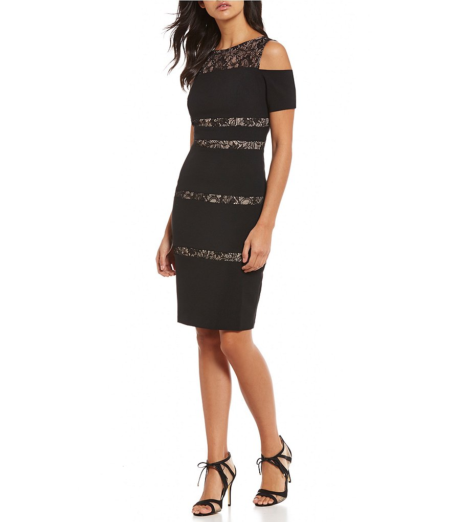London Times Cold-Shoulder Lace Sheath Dress