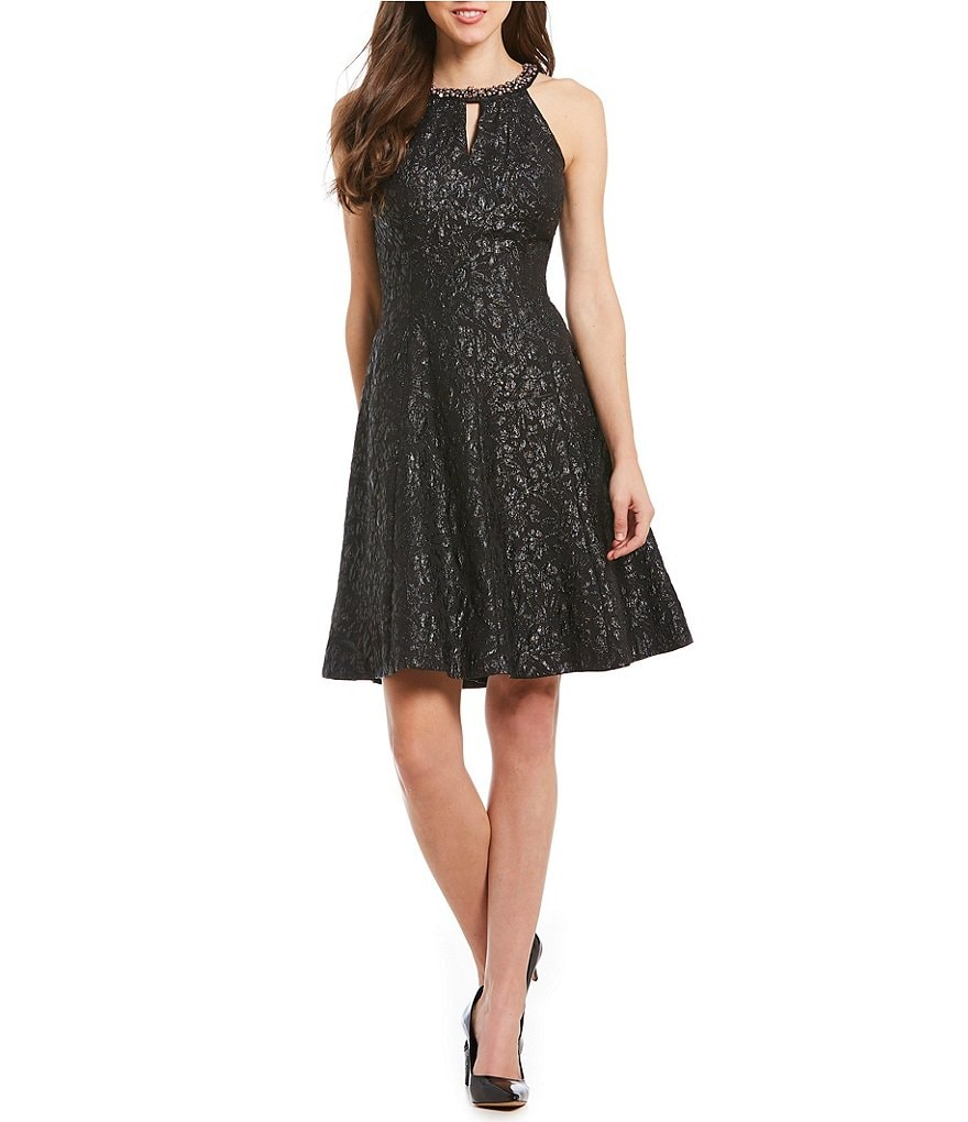 London Times Embellished Halter-Neck Fit-and-Flare Dress