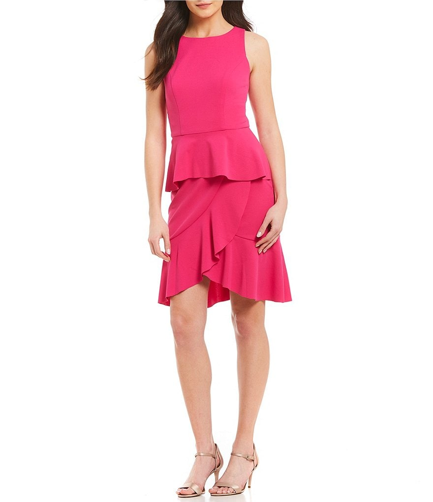 London Times Halter Neck Ruffle Sheath Dress