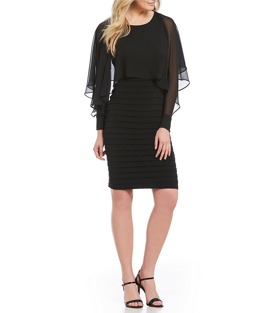 London Times Illusion Overlay Sheath Dress