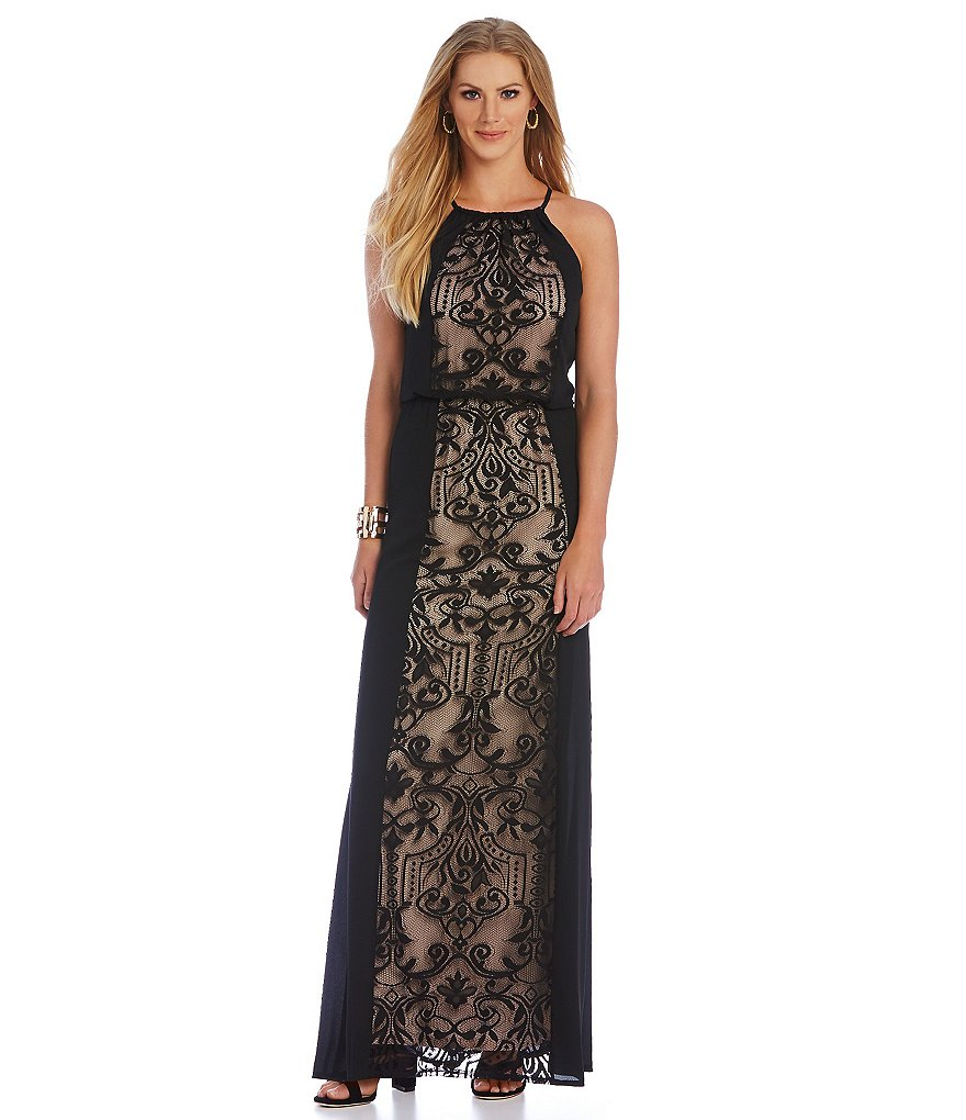 London Times Lace Blouson Maxi Dress