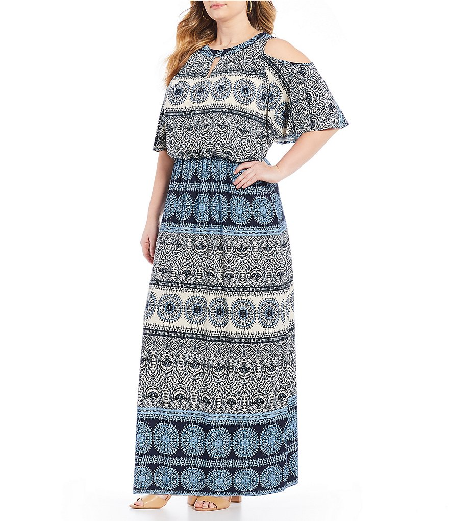 London Times Plus Cold Shoulder Short Sleeve Matte Jersey Maxi Dress