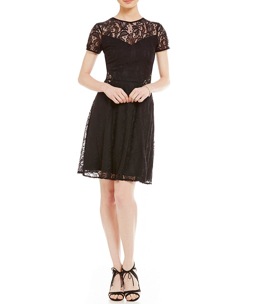 London Times Short Sleeve Tulip Fit-and-Flare Lace Dress