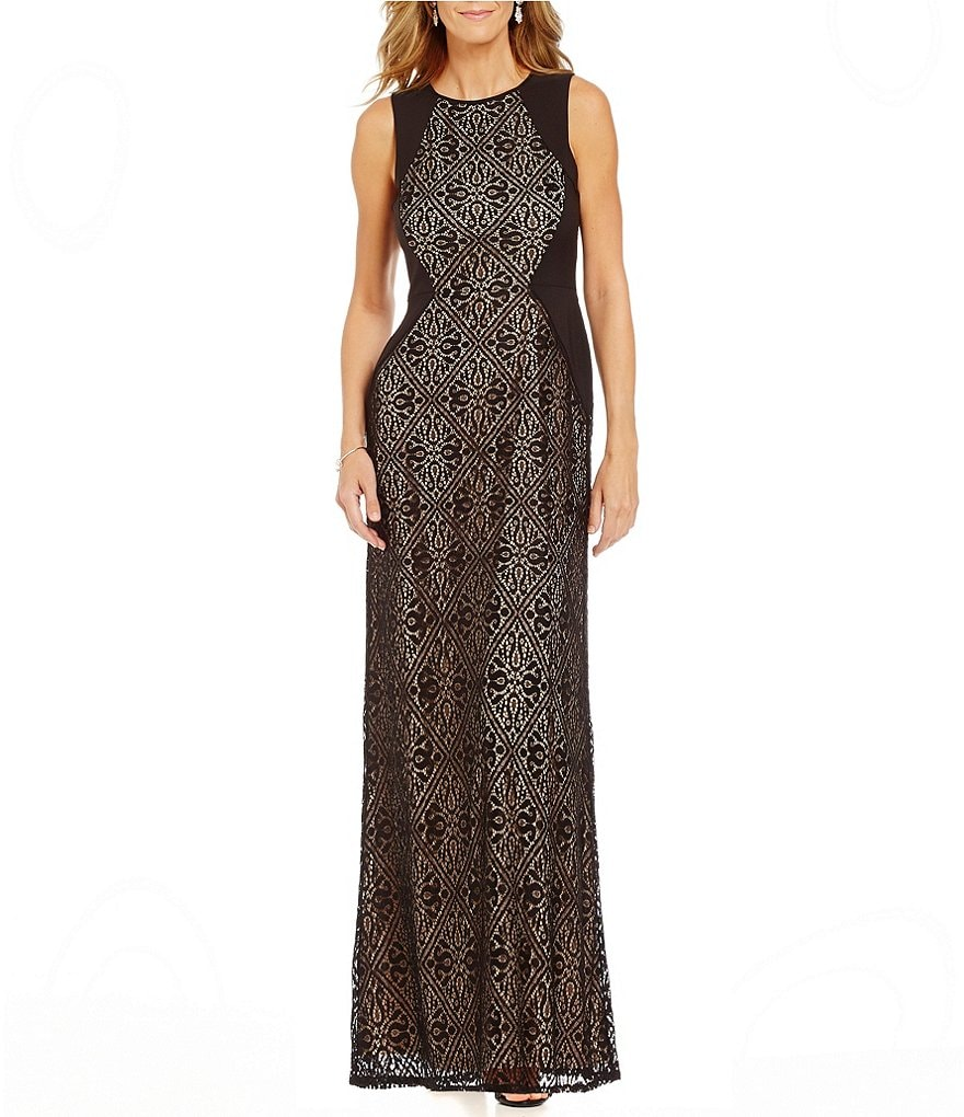 London Times Sleeveless Tile Lace Gown