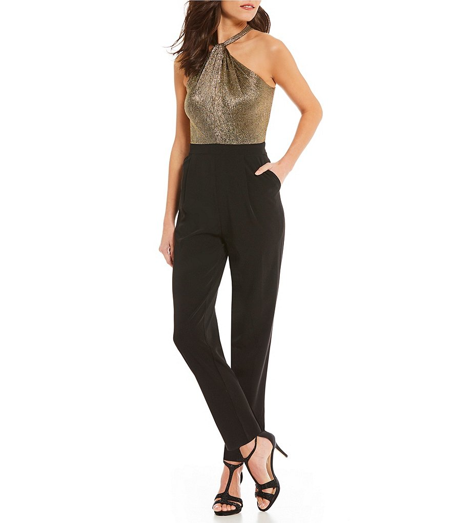 London Times Twist-Neck Halter Metallic Jumpsuit