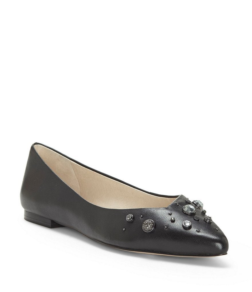 Louise et Cie Alwick Leather Gem Encrusted Ballet Flats