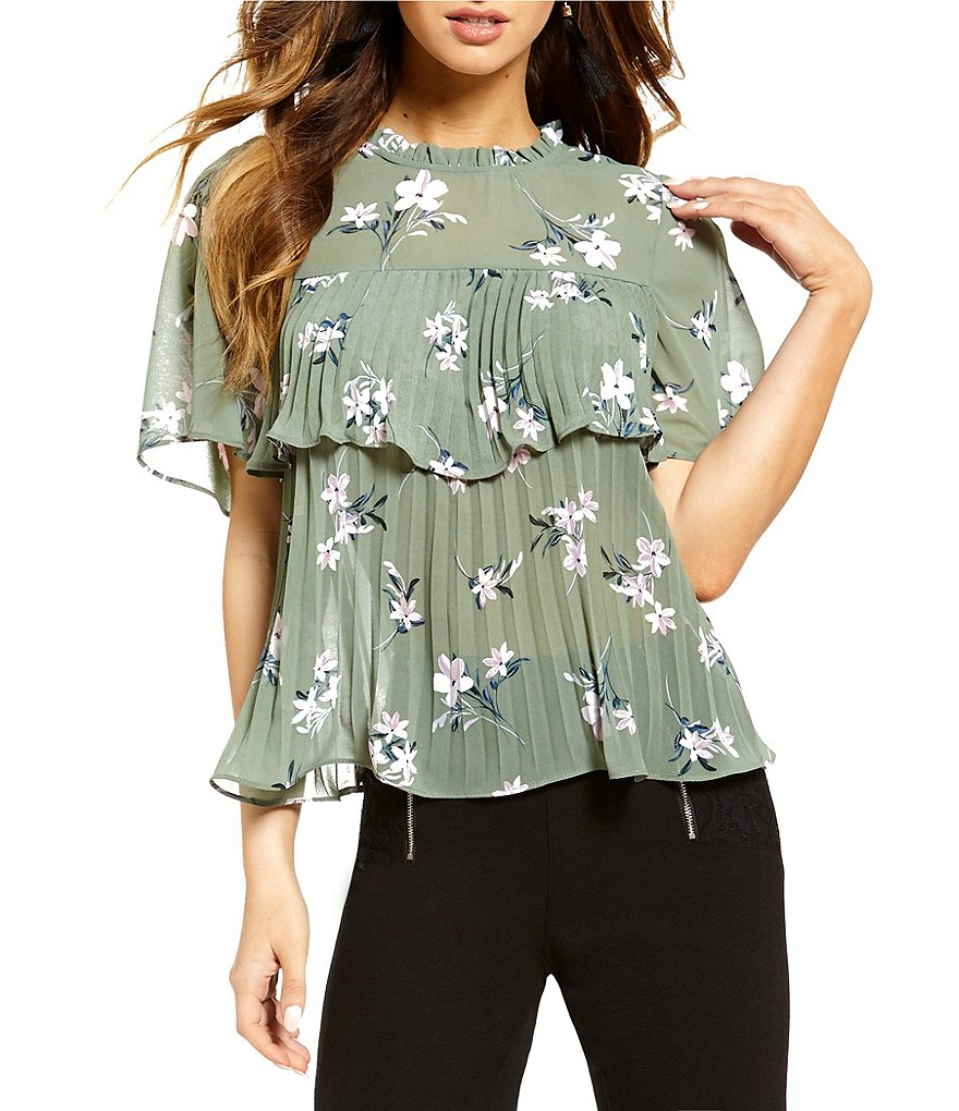 Love & Piece Floral Print Accordion-Pleated Blouse