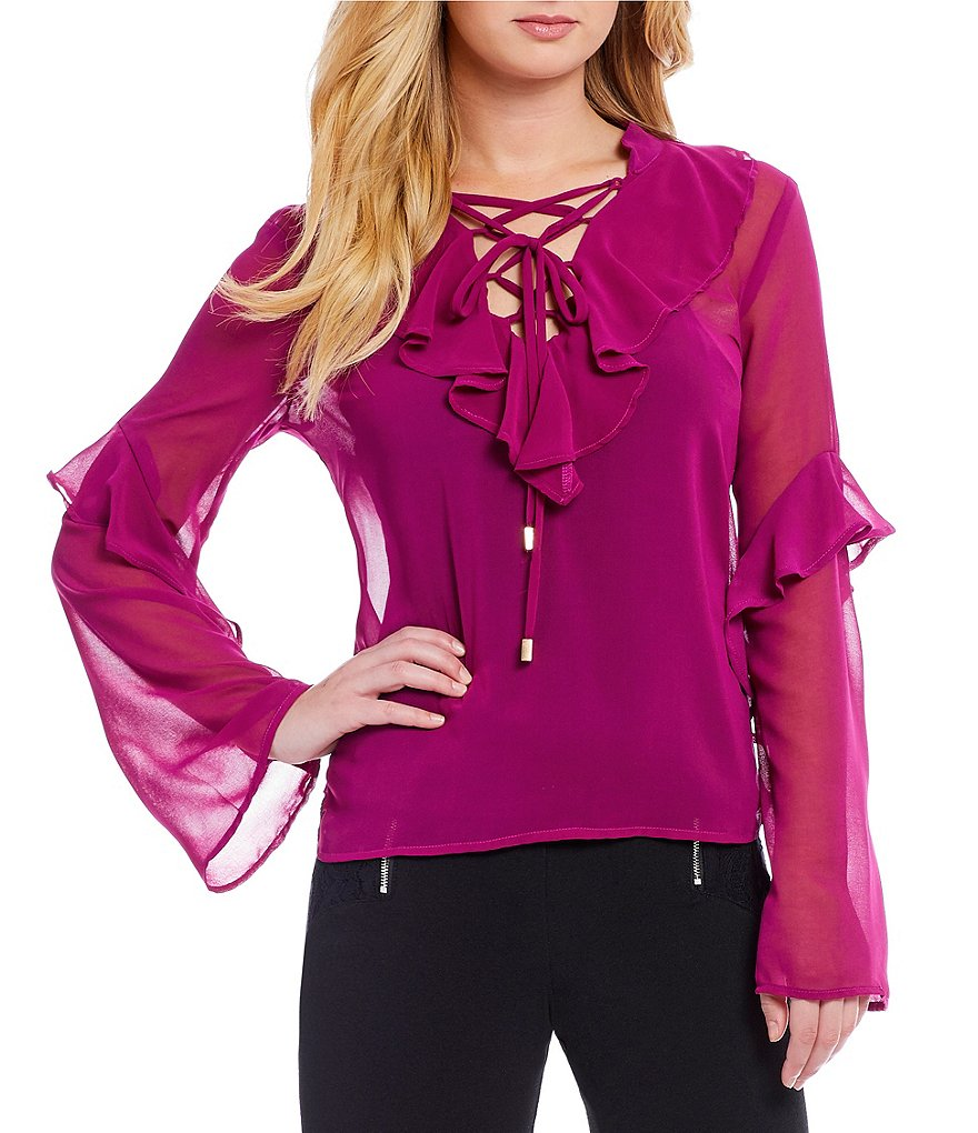 Love & Piece Ruffle-Front Woven Blouse