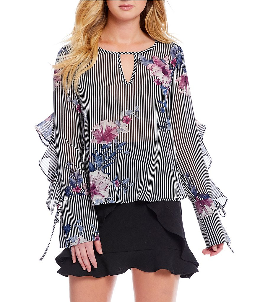 Love & Piece Striped Floral Print Blouse