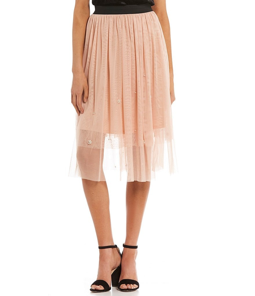 Love & Piece Tea-Length Mesh Skirt