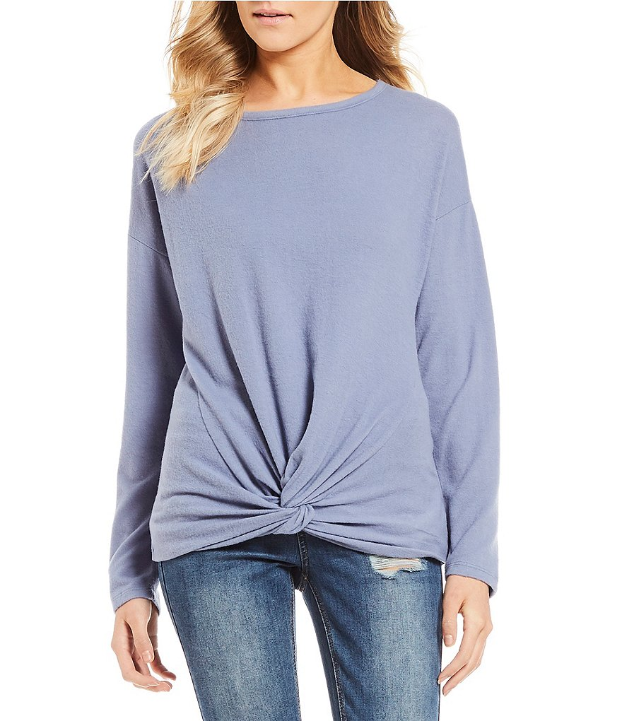 Love on a Hanger Cozy Long Sleeve Dolman Knot Front Tee