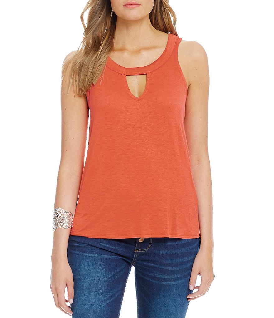 Love On A Hanger Keyhole-Neck High-Low Tunic Tank
