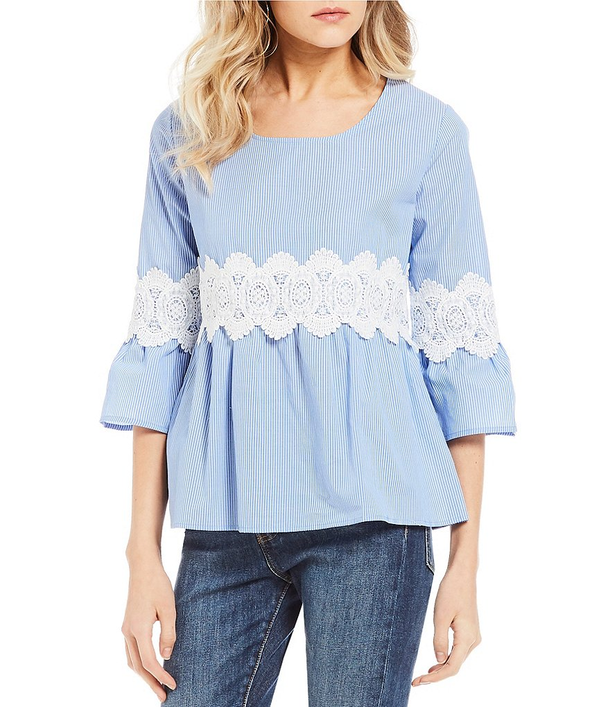 Love on a Hanger Striped Crochet 3/4 Bell Sleeve Poplin Top