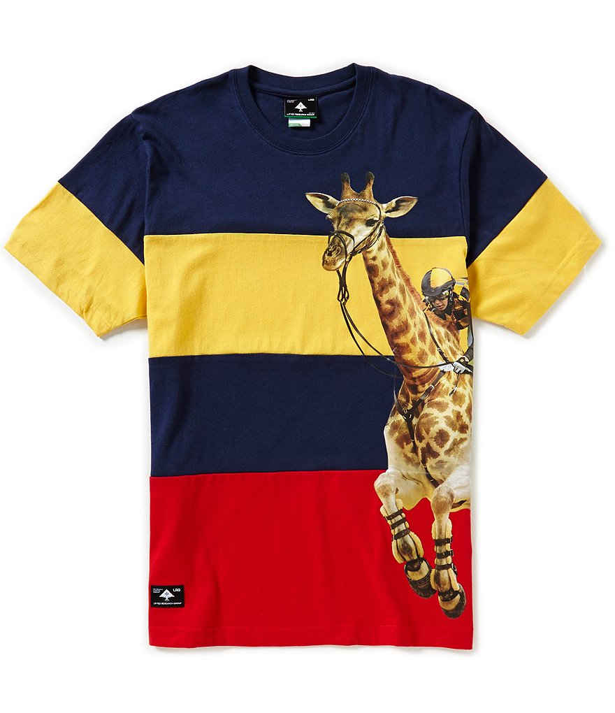LRG Triple Crown Horizontal-Striped Color Blocked Crewneck Graphic Tee