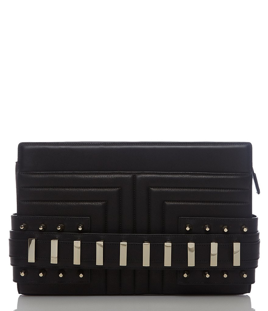 Luana Italy Phoebe Convertible Leather Studded Clutch