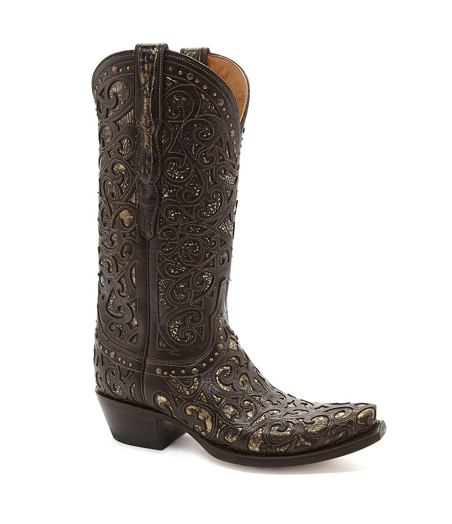 Lucchese Since 1883 Lasercut Western Block Heel Boots