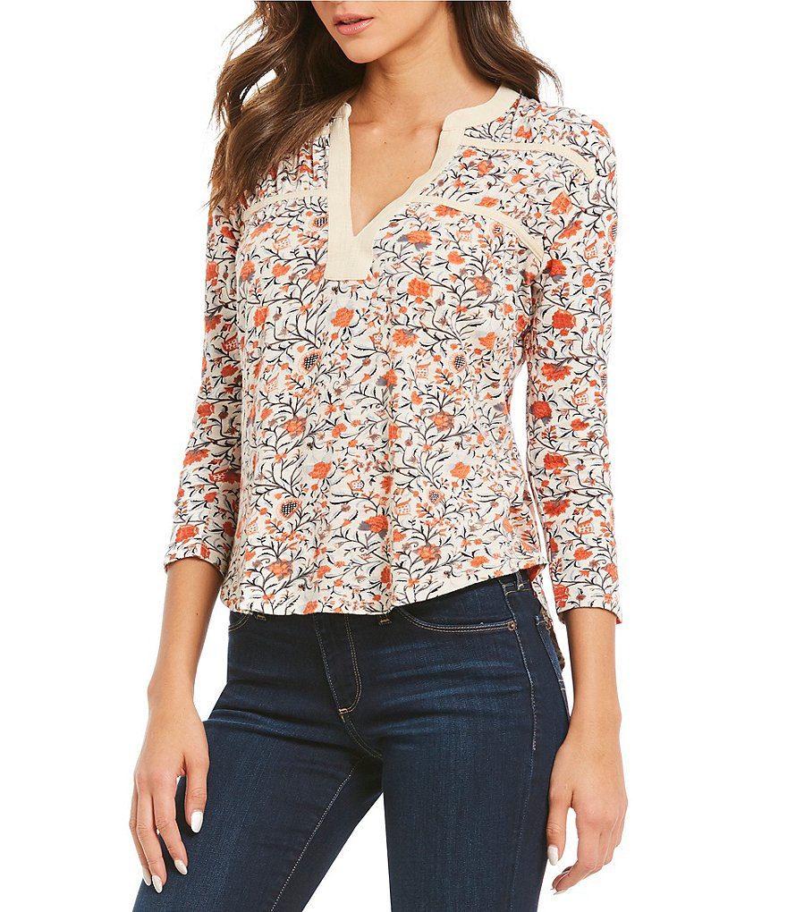 Lucky Brand 3/4 Sleeve Floral Print Knit Top