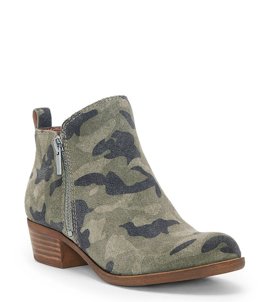 Lucky Brand Basel Camo Print Suede Side Zip Booties