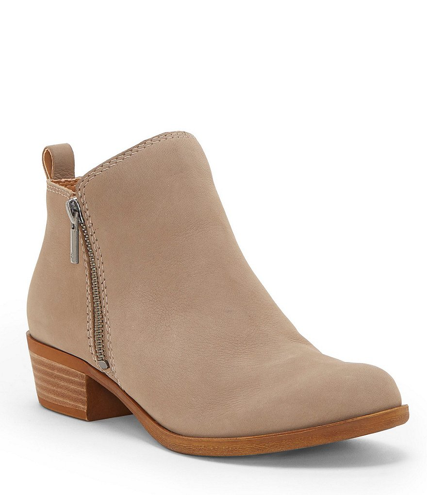 Lucky Brand Basel Nubuck Leather Side Zip Booties