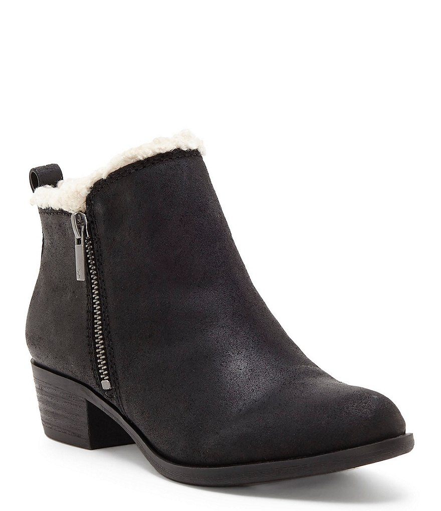 Lucky Brand Baselsher Leather Block Heel Booties