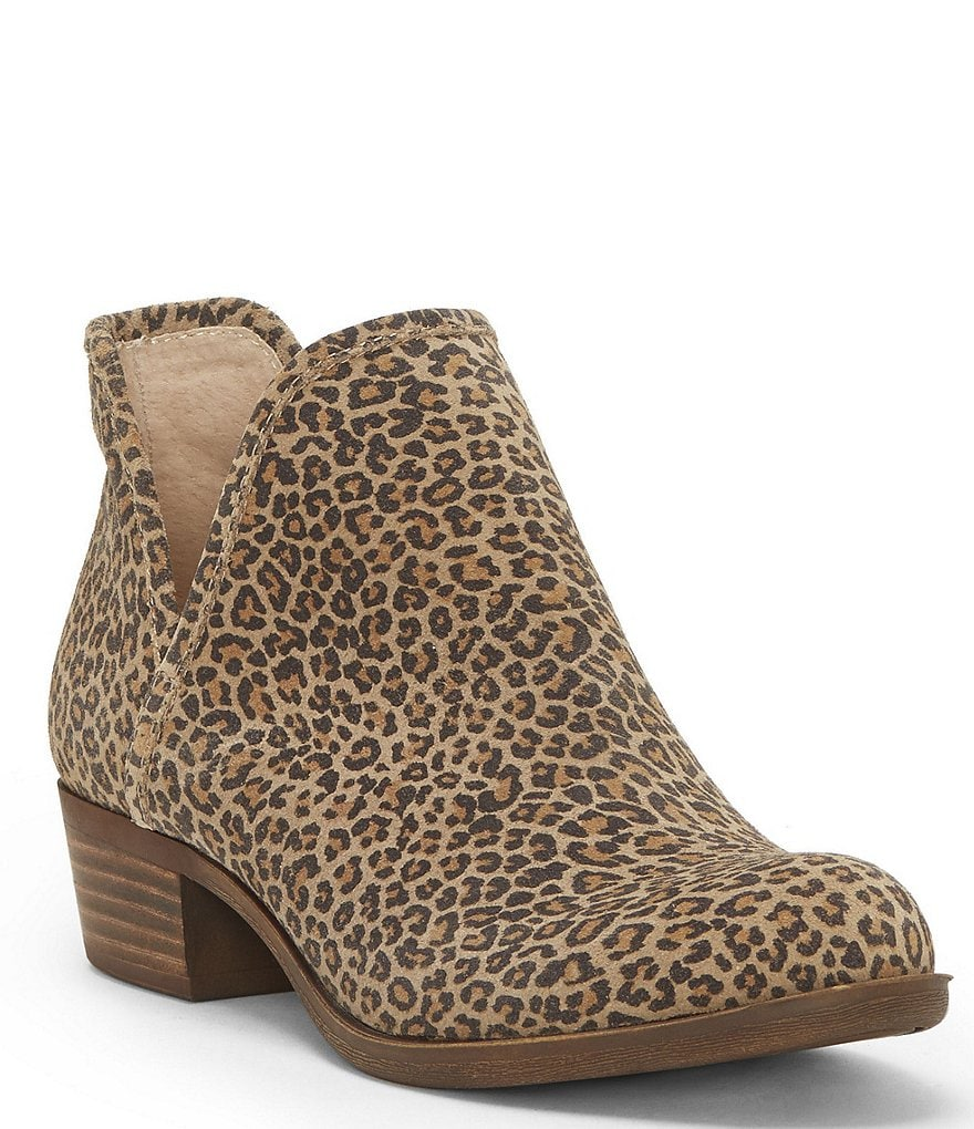 Lucky Brand Bashina 2 Leopard Block Heel Booties