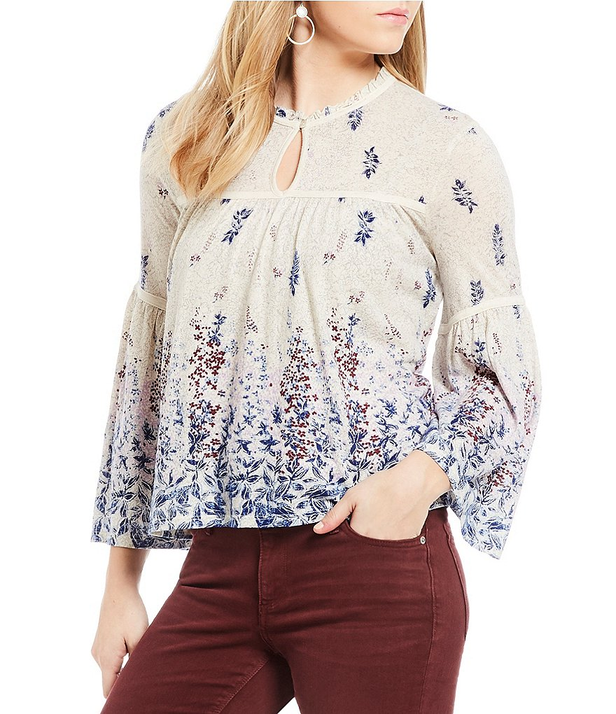 Lucky Brand Bell Sleeve Floral Border Print Peasant Top