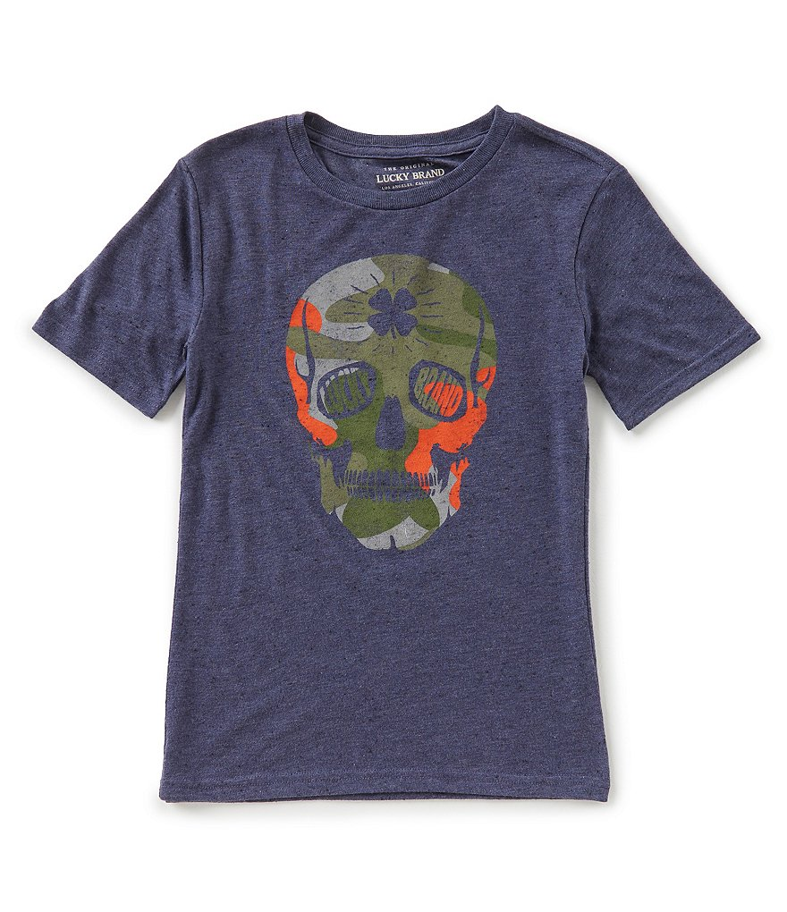 Lucky Brand Big Boys 8-20 Camo Skull Short-Sleeve Graphic Tee
