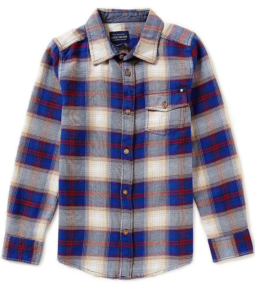Lucky Brand Big Boys 8-20 Grizzly Big-Checked Flannel Shirt