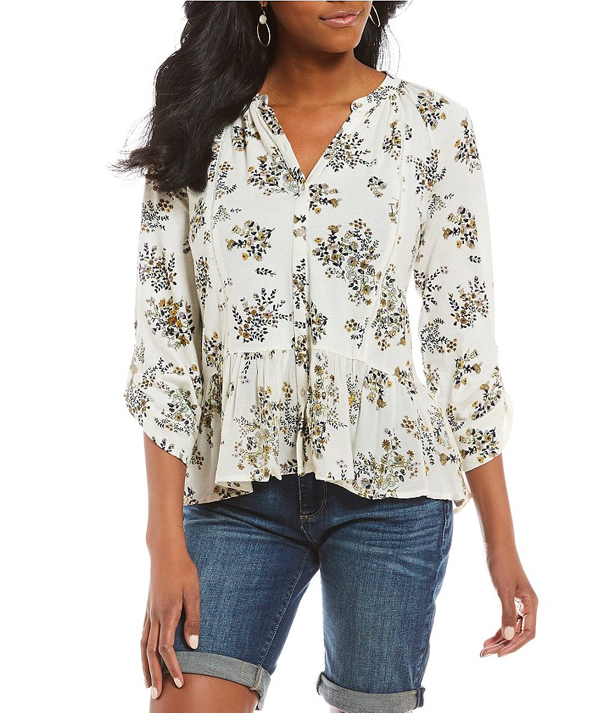Lucky Brand Button-Up Peplum Hem Floral Print Top