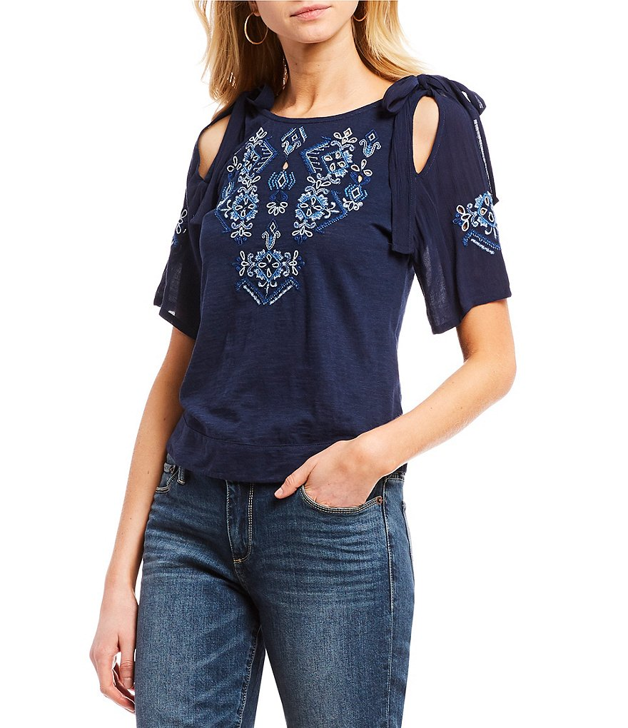 Lucky Brand Embroidered Cold-Shoulder Tie Sleeve Top
