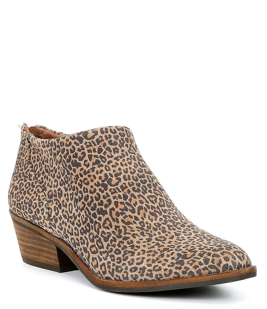 Lucky Brand Fai Leopard Printed Suede Booties