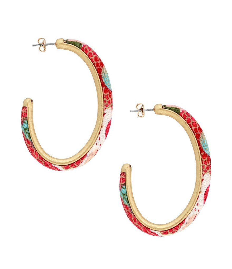 Lucky Brand Floral Hoop Earring