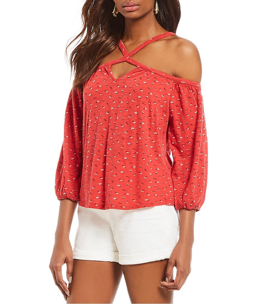 Lucky Brand Floral Print Criss Cross Strap Off-The-Shoulder Knit Top