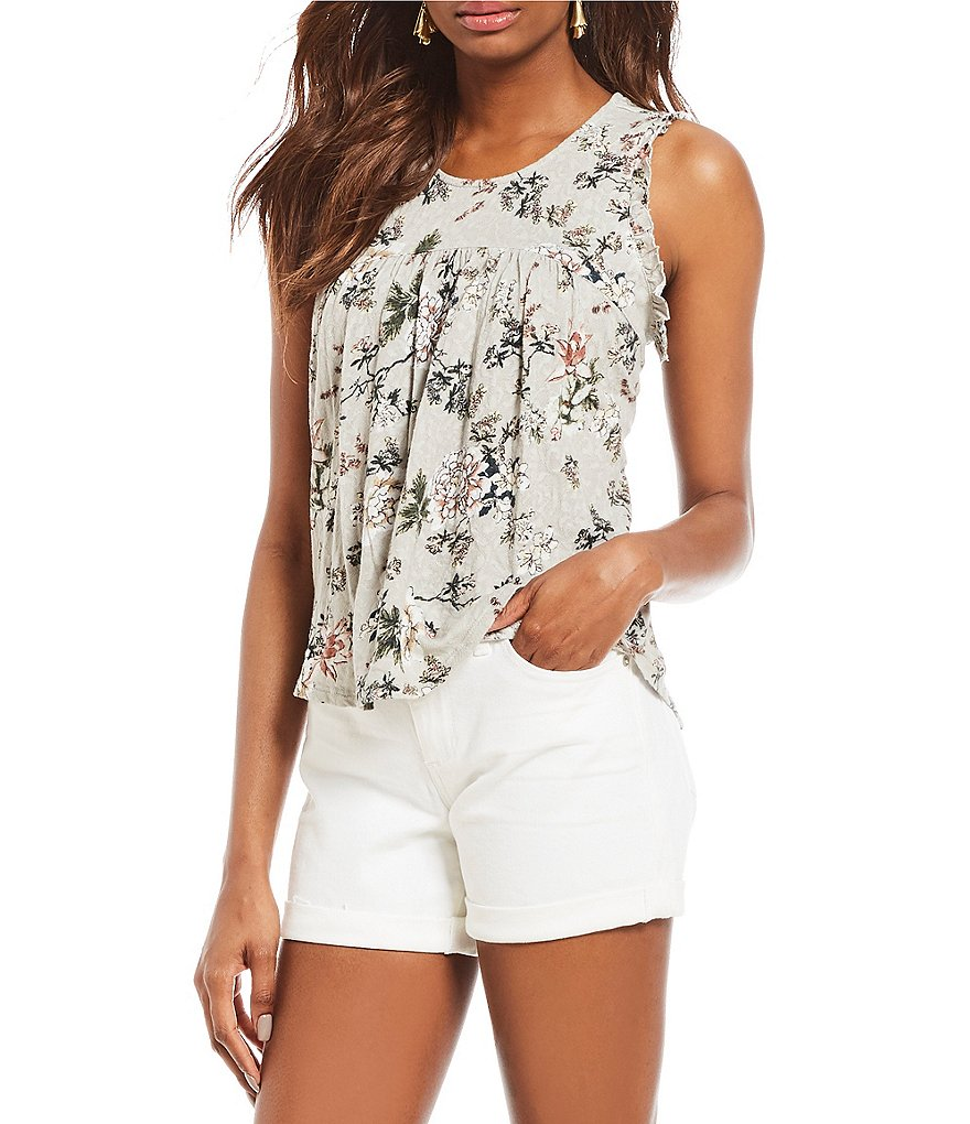 Lucky Brand Floral Print Floral Print Jacquard Knit Tank