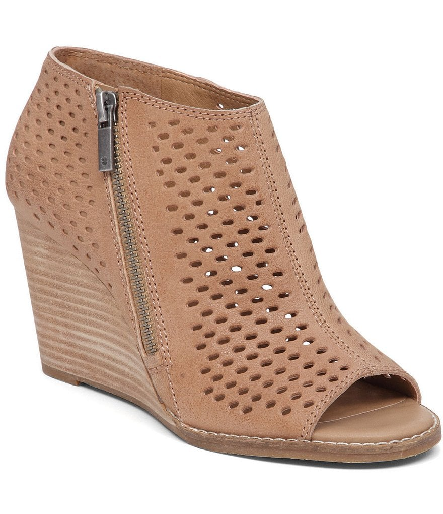 Lucky Brand Jazspur Perforated Leather Peep Toe Wedges