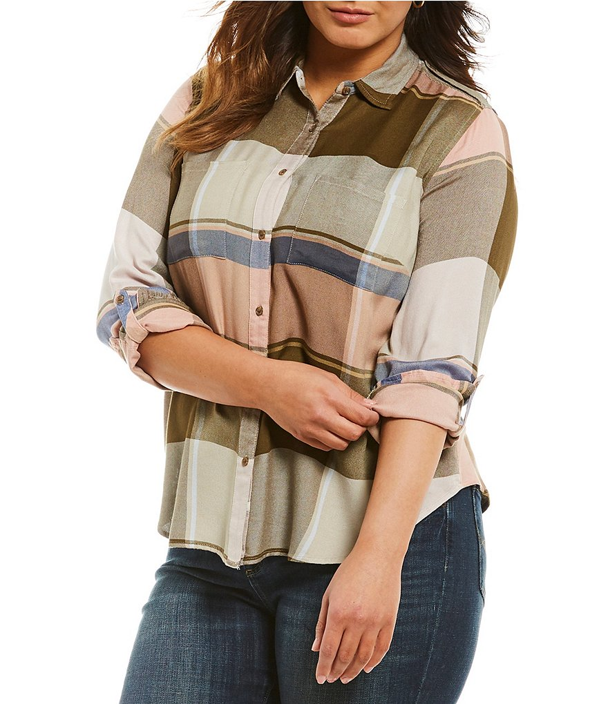 Lucky Brand Jeans Plus Plaid Button Front Blouse