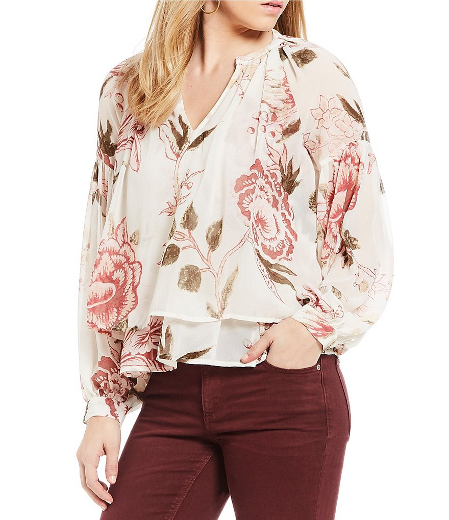 Lucky Brand Jenna Long Sleeve Floral Print Peasant Top