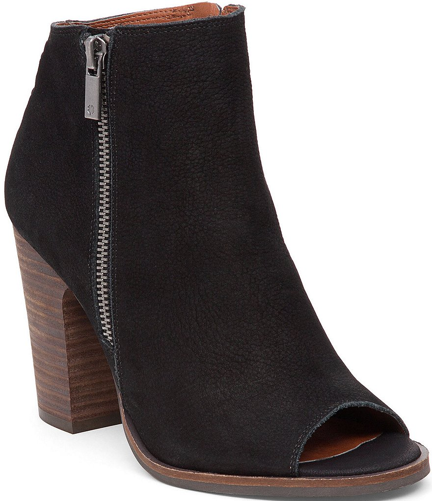 Lucky Brand Lamija Back Lace Detail Leather Peep Toe Booties