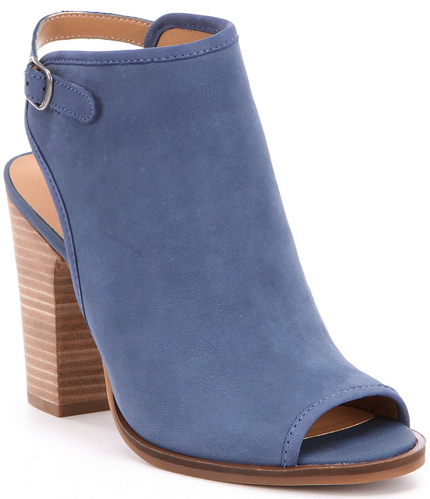 Lucky Brand Lisza Embossed Leather Back Strap Peep-Toe Booties