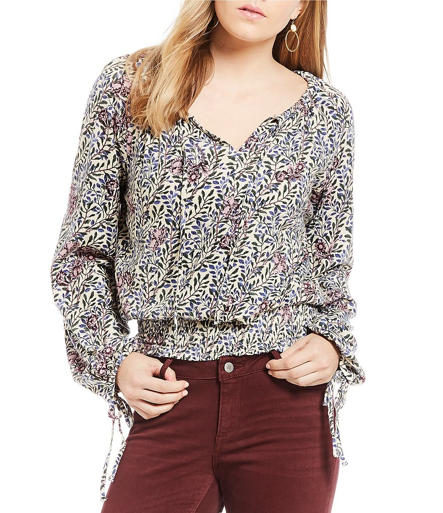 Lucky Brand Long Sleeve Banded Floral Print Peasant Top