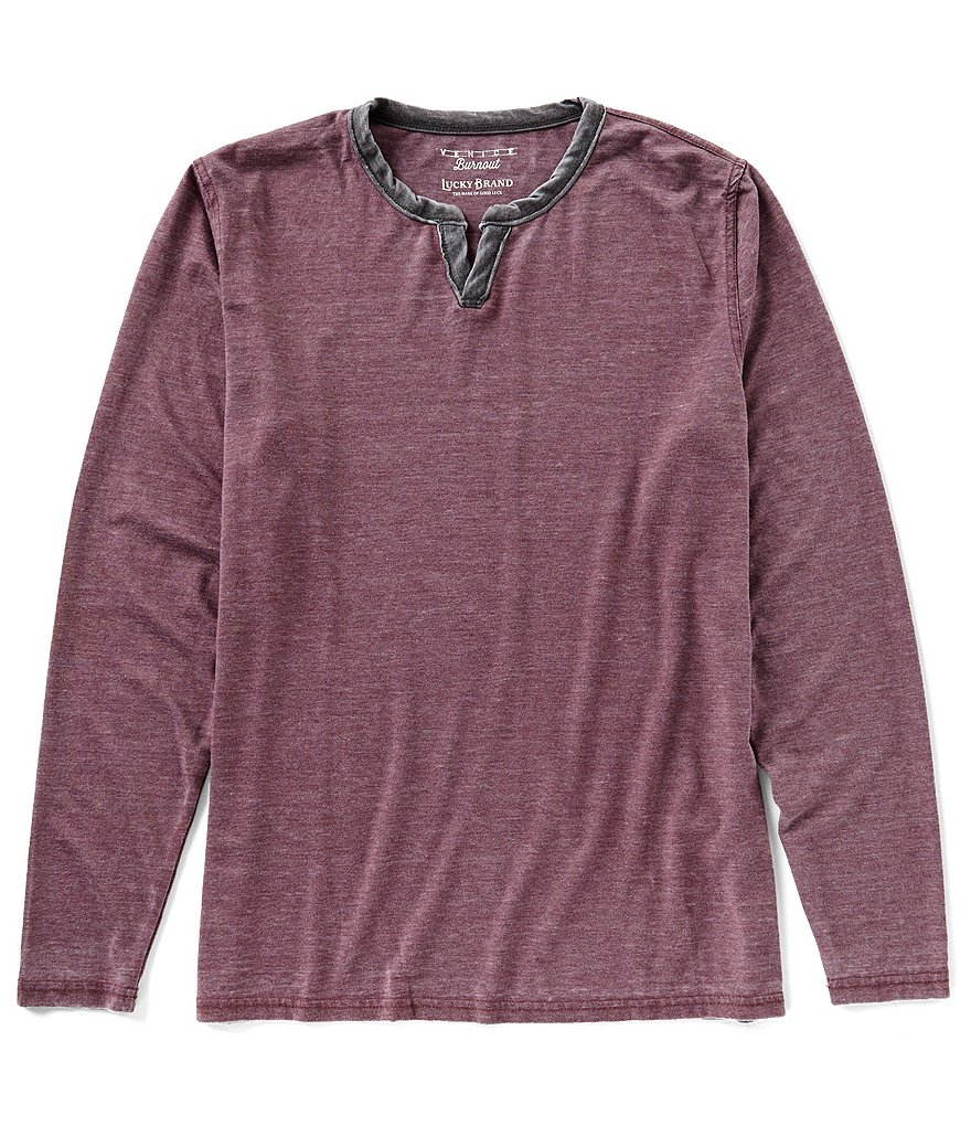 Lucky Brand Long-Sleeve Burnout Notch-Neck Pullover