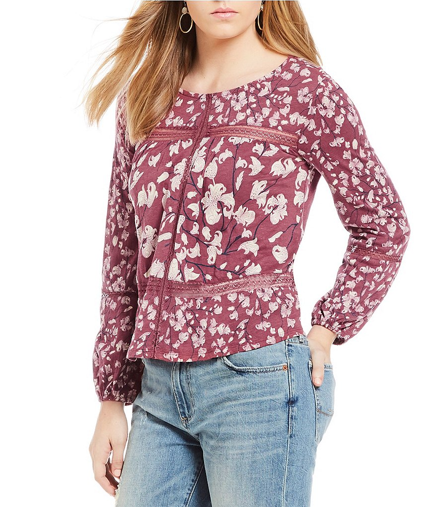 Lucky Brand Long Sleeve Lace Inset Floral Print Top
