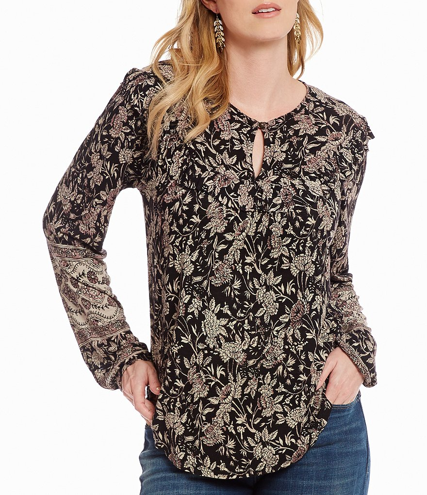 Lucky Brand Mixed Floral Print Keyhole Neck Ruffle Knit Top
