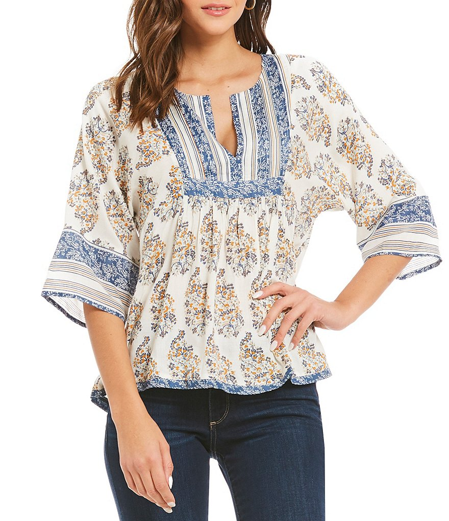 Lucky Brand Mixed Print Dolman Sleeve Peasant Top