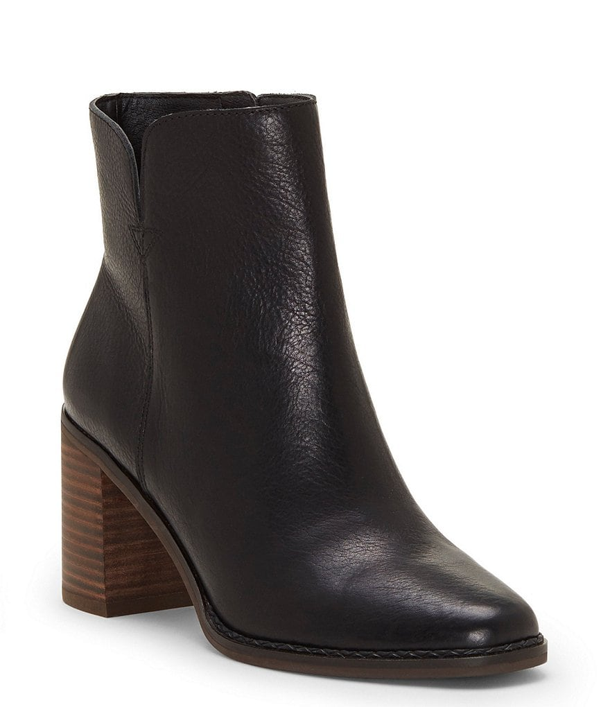 Lucky Brand Nomi Leather Block Heel Booties