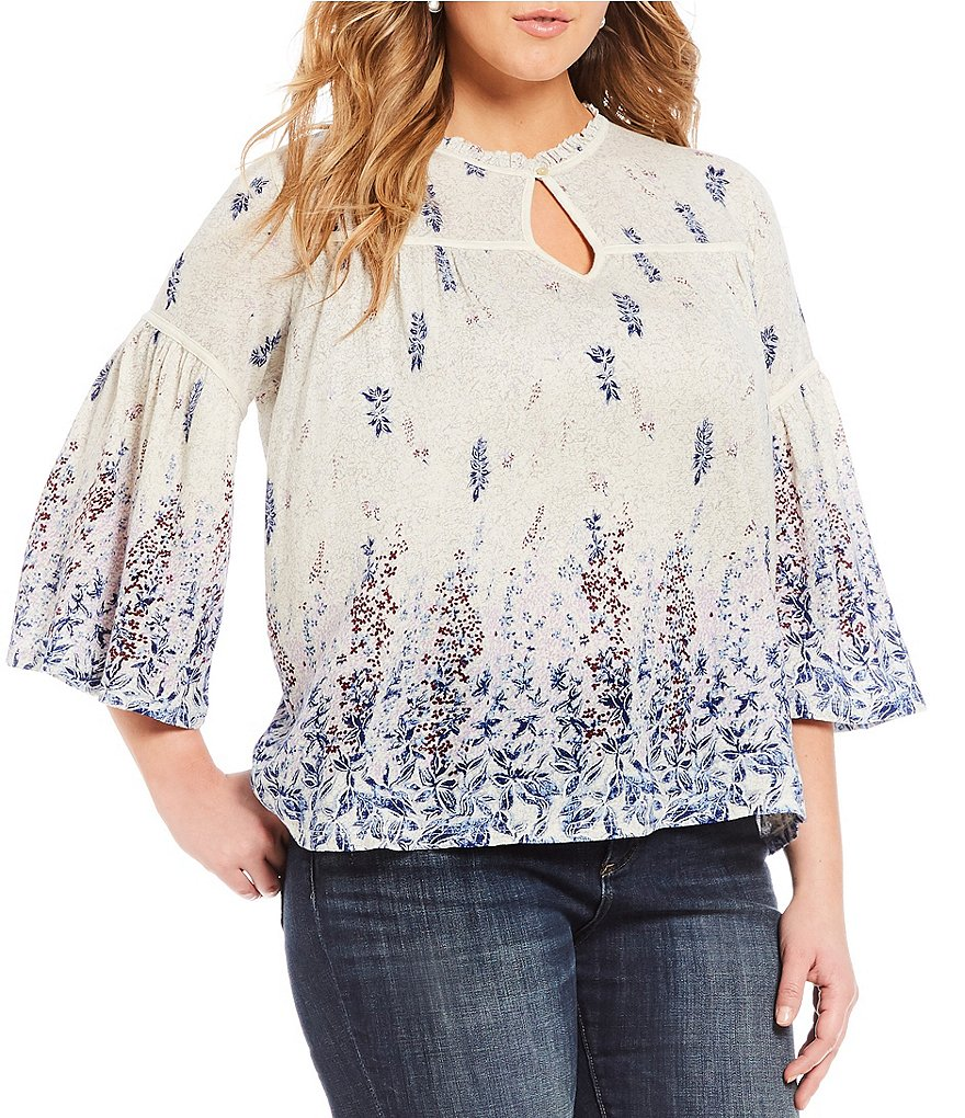 Lucky Brand Plus Bell Sleeve Floral Border Print Peasant Top