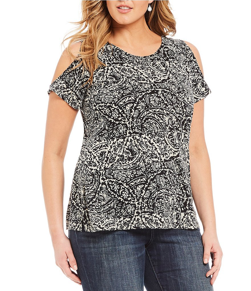 Lucky Brand Plus Cold-Shoulder Paisley Print Tee