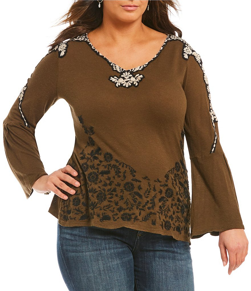 Lucky Brand Plus Embroidered Bell Sleeve Top