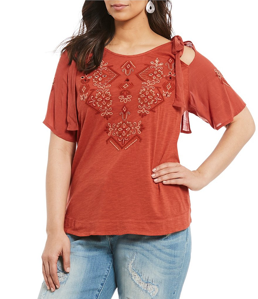Lucky Brand Plus Embroidered Cold-Shoulder Top