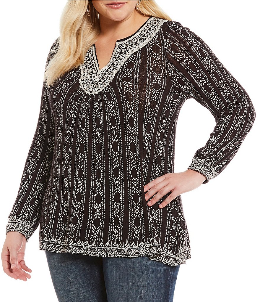 Lucky Brand Plus Embroidered Long Sleeve Drop Needle Knit Top